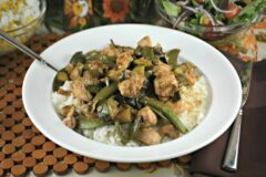 Ginger Beef or Chicken with Zucchini and Snap Peas