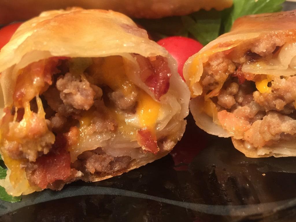 Perfect Bacon Cheeseburger Egg Rolls