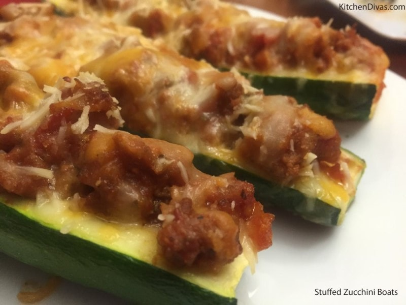 Stuffed Zucchini Boats Full