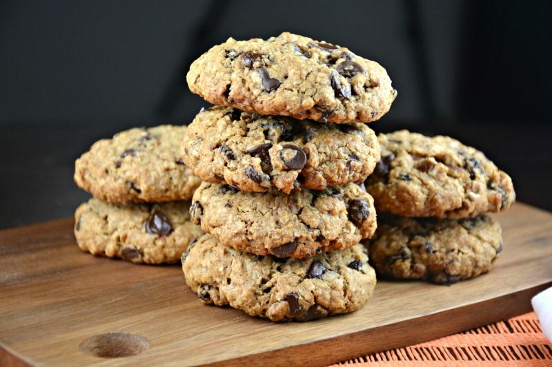 Soft and Thick Oatmeal Chocolate Raisin Cookies