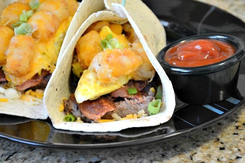 Cheesy Steak 'n Bacon Tater Breakfast Burrito