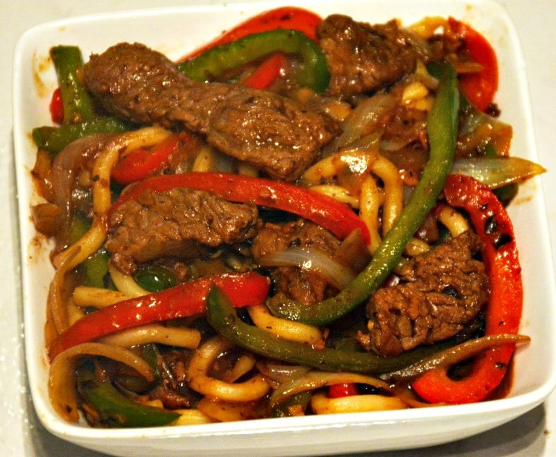 Beef, Peppers, Onions and Udon Noodles in a Black Bean Garlic Sauce