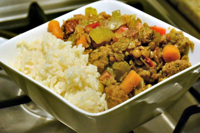 Slow Cooker Sausage, Bacon and Lentil Stew