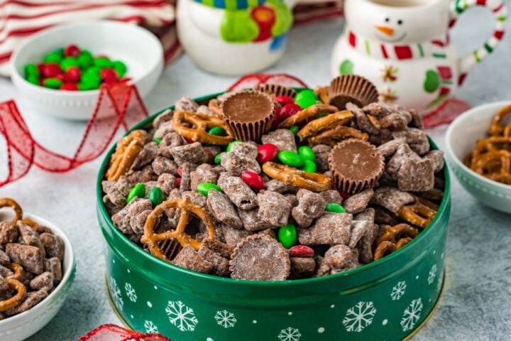 Reindeer chow in Christmas tin