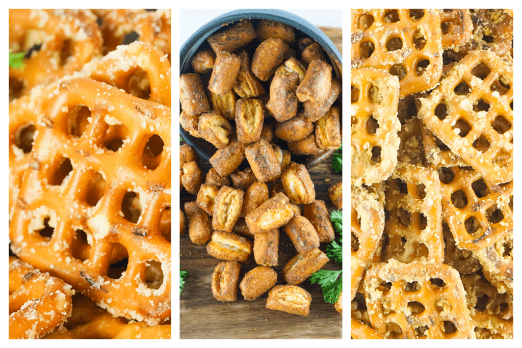 Collage of three different kinds of smoked pretzels.