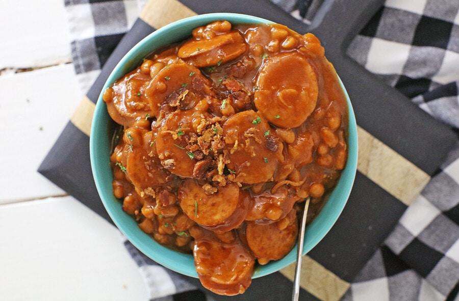 Overhead shot of bowl of kielbasa baked beans