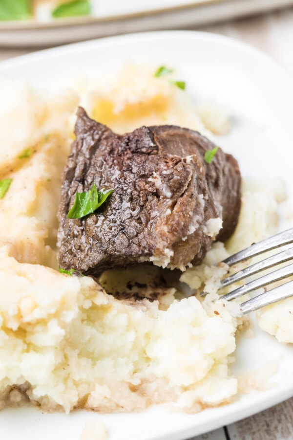 Closeup of short rib meat on top of mashed potaotes on a white plate