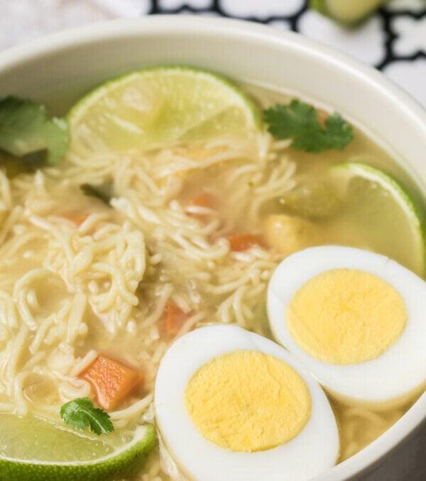 Close up of ramen soup in pot