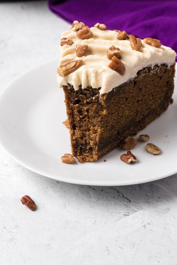 Instant Pot Gingerbread Cake with Maple Bourbon Frosting