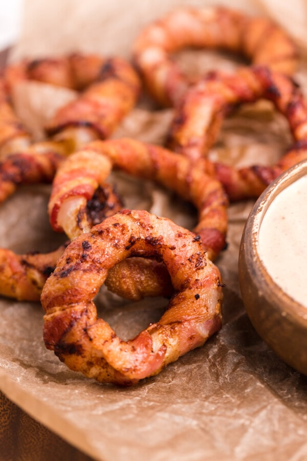Onion Rings Wrapped in Bacon