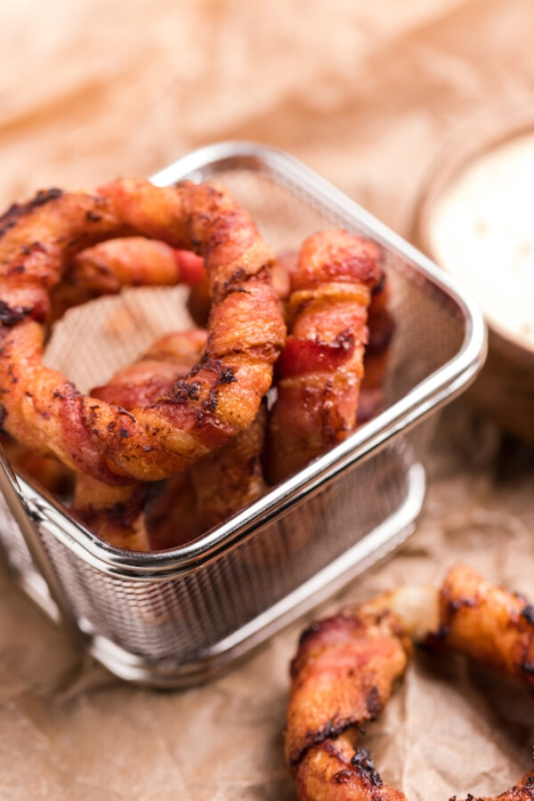 Air Fryer Bacon Wrapped Onion Rings