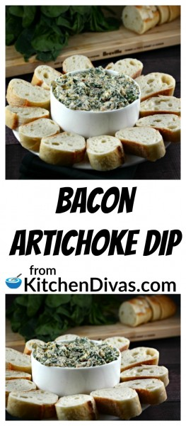 This dip is delicious!   Bacon Artichoke Dip has been a long time family favorite!  I always wish I made a separate one just for myself, every time I make it!  Bacon does make everything taste just a bit better!  You can use your favorite crackers to dip but my personal favorite is a baguette, thinly sliced!  This dip is perfect for any kind of get together, even movie night!  https://kitchendivas.com/bacon-artichoke-dip/