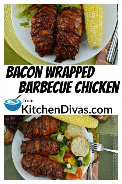 This recipe for Bacon Wrapped Barbecue Chicken started off by just wrapping bacon around a chicken breast and baking it. We absolutely loved it, I mean who wouldn't? One night my husband Ken put barbecue sauce on it and it tasted even better! Now we make these Bacon Wrapped Barbecue Chicken breasts all the time. Bacon does make everything taste better and in this case barbecue sauce does too!  https://kitchendivas.com/bacon-wrapped-barbecue-chicken/