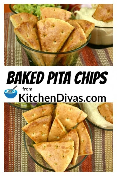 These Baked Pita Chips can be made in 20 minutes and are fabulous served with any dip your heart desires or on their own.  You can literally season these chips with all of your favorite flavors!  Most often I use garlic, salt and pepper but have used Italian seasoning, chili powder, onion powder, barbecue chicken seasoning and so much more!  https://kitchendivas.com/baked-pita-chips/