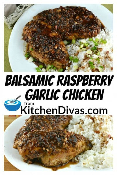 Balsamic Raspberry Garlic Chicken is a long standing family favorite.  I love recipes like this.  Mix all of these wonderful flavors together.  Stir, dump mixture all over the top of your chicken and bake!  Recipes do not get any easier than that!  I wish more were!  https://kitchendivas.com/balsamic-raspberry-garlic-chicken/