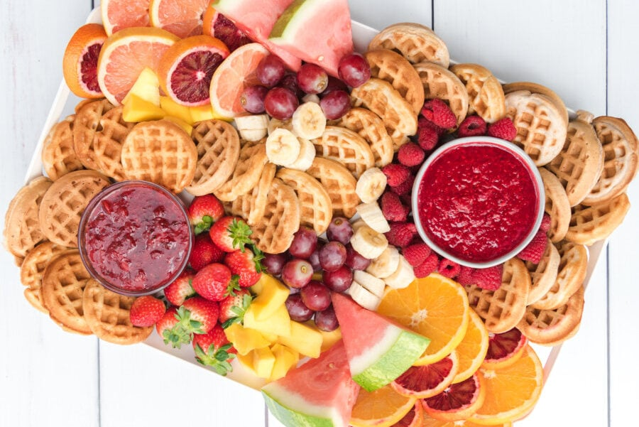 Another picture of an entire breakfast charcuterie board lovingly called a waffle board in some parts