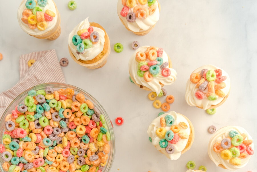 A bowl of Fruit Loops waiting to be sprinkled on top of freshly-baked desserts