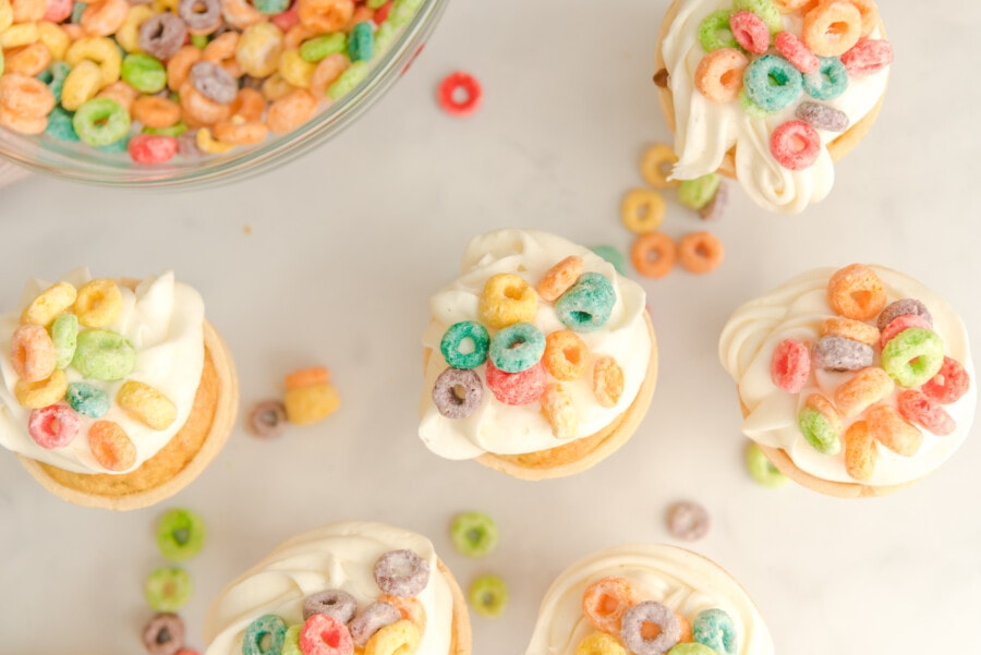 Want to learn how to make ice cream cone cupcakes? This recipe will teach you how. Overhead shot of finished recipe