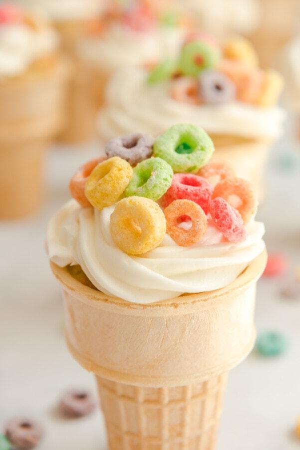Close up shot of ice cream cone cupcake