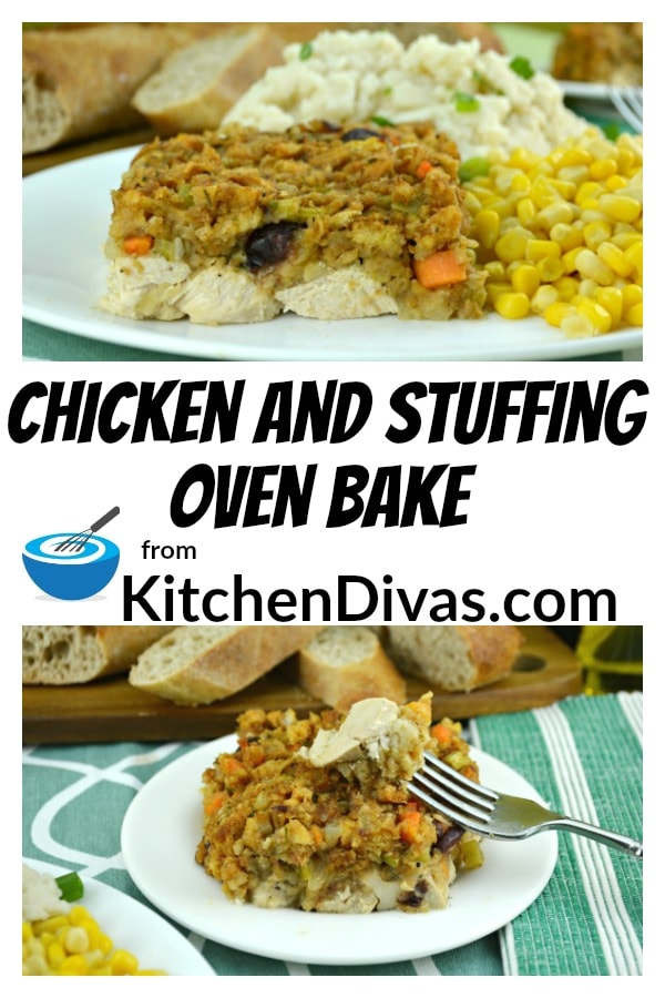 This recipe for our Chicken and Stuffing Oven Bake is delicious and so easy. It includes chicken, cranberry sauce and onions, carrots,  celery and stuffing!