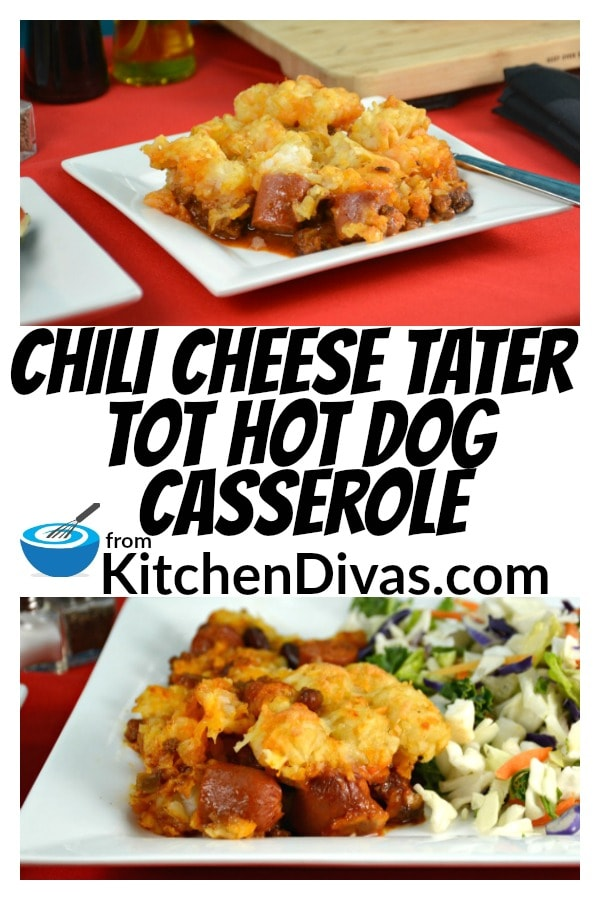 This Chili Cheese Tater Tot Hot Dog Casserole is definitely a guilty pleasure of mine!  I can't help it, on occasion, I crave hot dogs, covered in chili with cheese and lots of tater tots all over the top!  So easy to make and totally delicious!