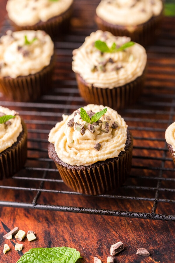Cupcakes with Irish cream buttercream frosting on wire rack