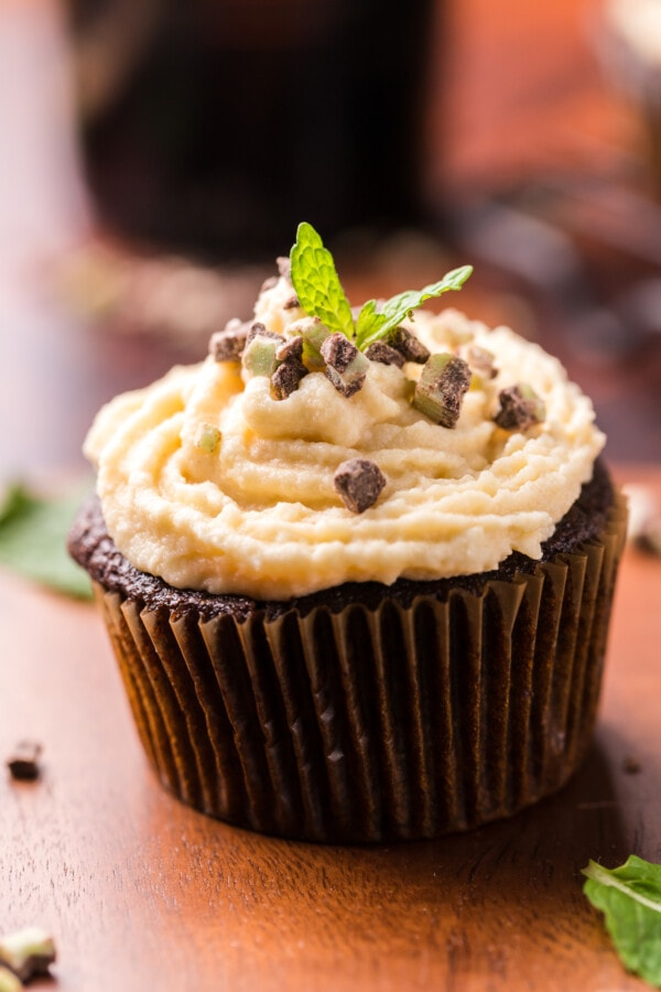 Closeup shot of chocolate mint cupcakes with Irish cream buttercream frosting