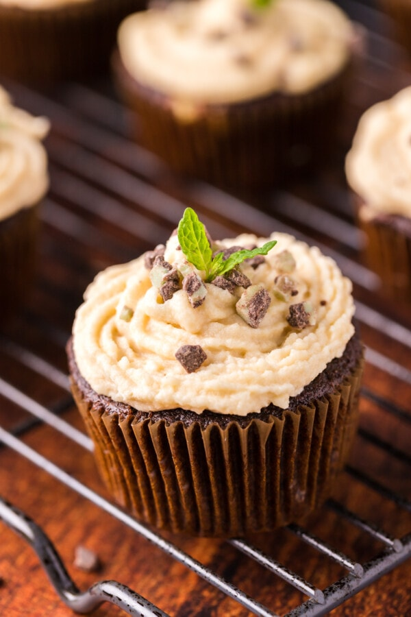 Andes Mint cupcake with Irish cream buttercream frosting