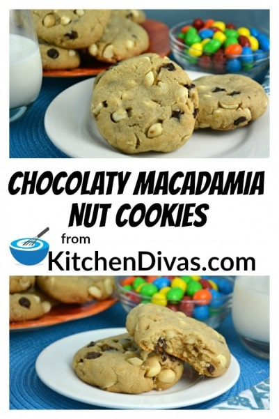 These Chocolaty Macadamia Nut Cookies cookies are truly amazing. They are so soft and chewy, Who can resist macadamia nuts and chocolate?  https://kitchendivas.com/chocolatey-macadamia-nut-cookies/