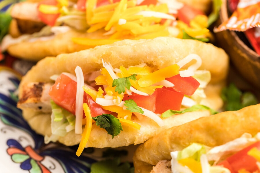 Closeup shot of copycat chicken chalupa supreme on plate