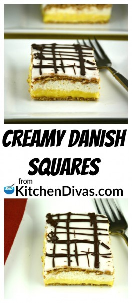 I first tried Creamy Danish Squares when I was young.  Not only did my grandmother make them but my mother did too.  As I got older I realized that they made this dessert because it was delicious but now I am convinced it was because it is so darn easy to create!  https://kitchendivas.com/creamy-danish-squares/