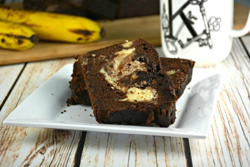 Glazed Chocolate Chunk Cream Cheese Banana Bread