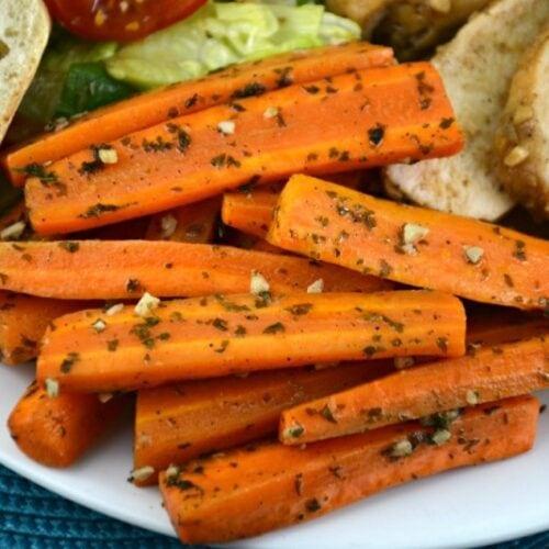 baked garlic butter carrots