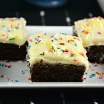 Peanut Butter Nutella Brownies with Cream Cheese Icing