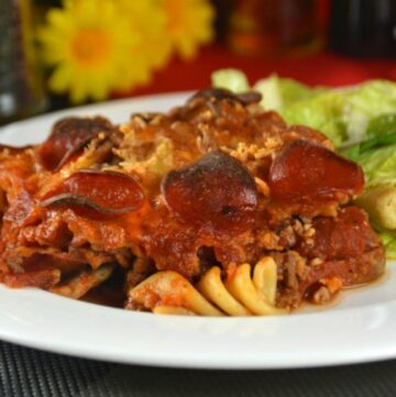 Meat Lovers Pizza Pasta Casserole