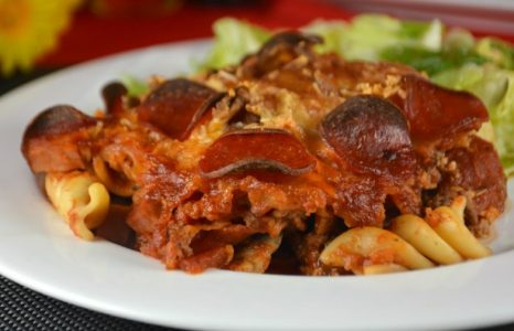 Meat Lovers Pizza Pasta Casserole