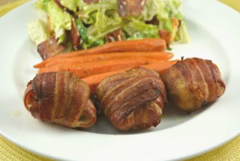 Bacon Wrapped Garlic Chicken Thighs