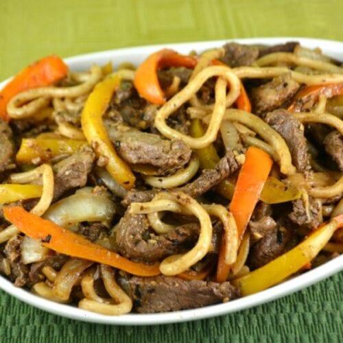 Black Bean Garlic Beef Noodles