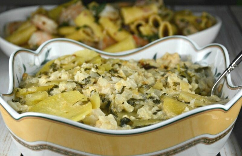 Slow Cooker Scalloped Alfredo Potatoes and Cauliflower