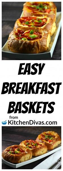 These Easy Breakfast Baskets are a great way to start any day! Actually, truth be told we often make these for dinner! They can be filled with almost anything you desire. Aside from bacon we have used ground, cooked sausage and sometimes just a bunch of vegetables. Anything that you think goes with an egg will work and taste beautifully! Kids love to make them and will love to watch them cook. We have set up a breakfast basket station and let them decide what goes inside! These Easy Breakfast Baskets work great for sleepovers! Truth be told adults love to make them too. Kids are cuter though. https://kitchendivas.com/easy-breakfast-baskets/