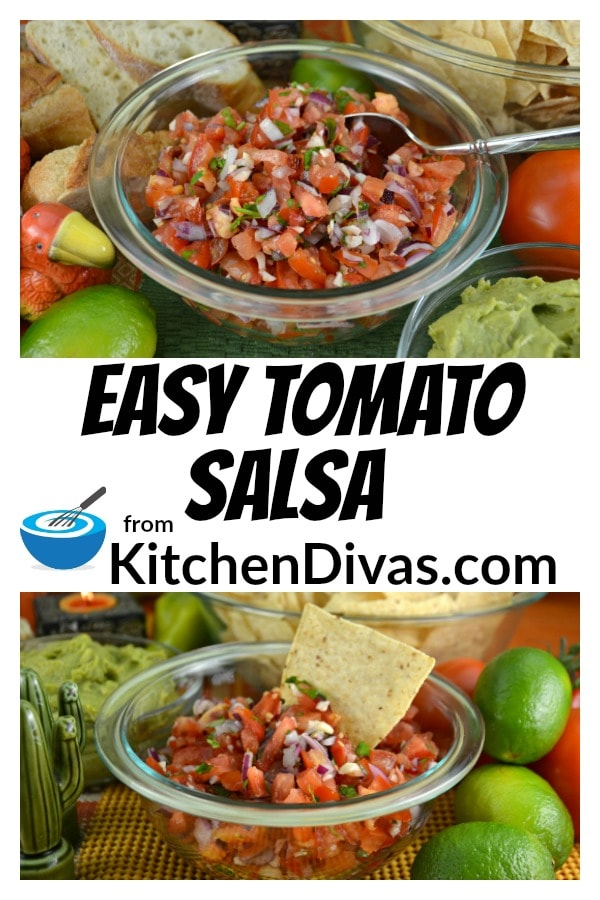 Easy Tomato Salsa is a perfect blend of tomatoes, onions, garlic and cilantro! Perfect as a colorful and flavorful appetizer or a snack!