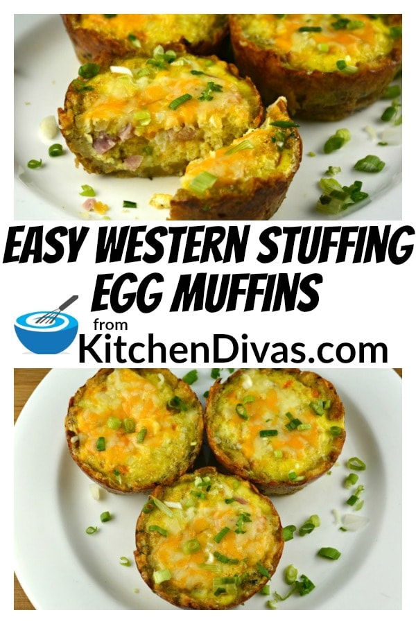 Easy Western Stuffing Egg Muffins are a delicious and easy way to start any day!  I just can't get enough of this crust!  If you are a fan of stuffing you will love these versatile and tasty little treats, perfect for any time of the day  https://kitchendivas.com/easy-western-stuffing-egg-muffins/