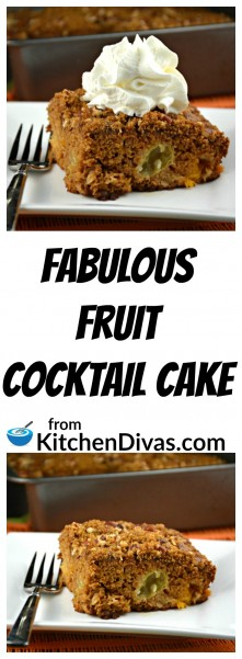 This recipe for Fabulous Fruit Cocktail Cake is indeed fabulous! This is an easy and delicious dessert for any occasion, any night of the week. With whipped cream or without this dessert will never disappoint.  Sorry I can't seem to help myself. I cannot stress how yummy this recipe is. You really have to try it!  https://kitchendivas.com/fabulous-fruit-cocktail-cake/