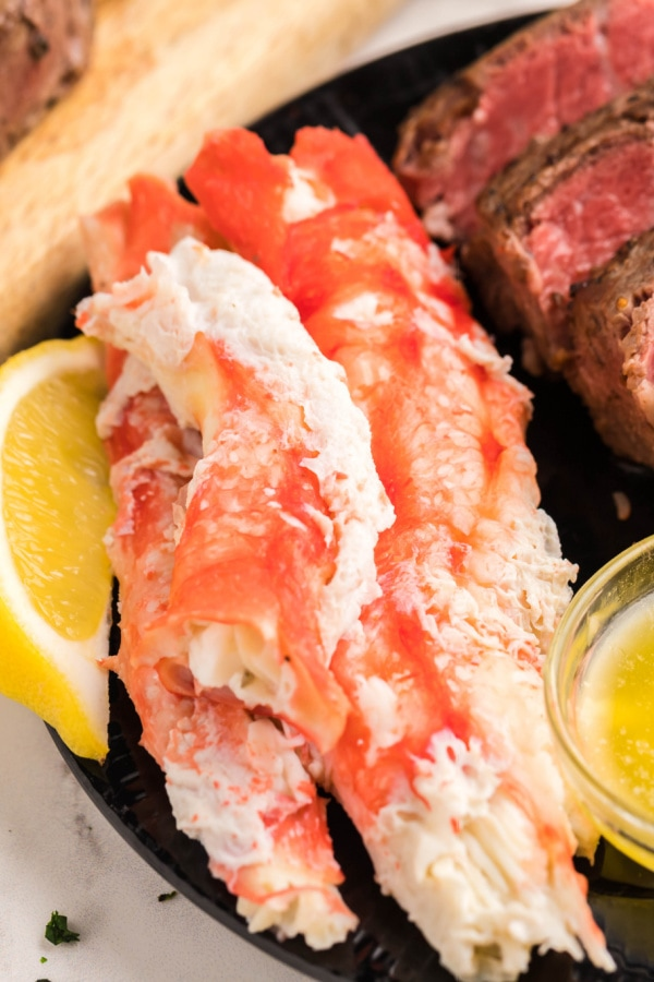 close up photo of this recipe for how to make black and blue steak and crab legs
