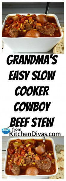 This recipe for my Grandma's Easy Slow Cooker Cowboy Beef Stew is a winter staple around here.  Perfect for cooler days or if you just want an easy meal to prepare in the morning and eat at night.    My grandmother used to cook this all day on low and it was always so yummy!  I didn't realize how easy this satisfying meal was until I was older.