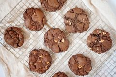 Triple Chocolate Caramel Peanut Butter Cookies