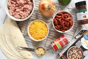 Pork and Bean Burritos