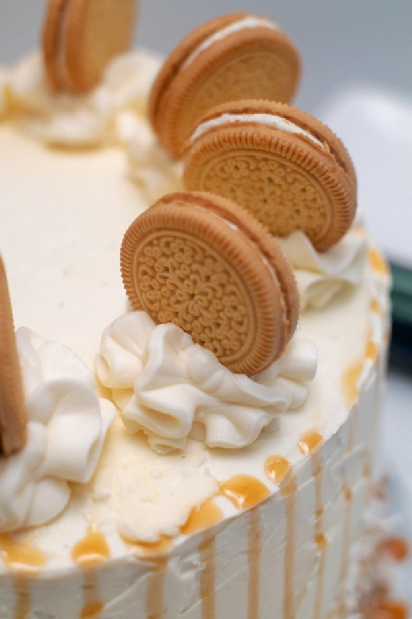 Closeup shot of sandwich cookies on top of cake