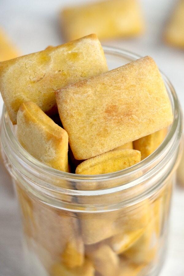Closeup shot of dog biscuits in mason jar