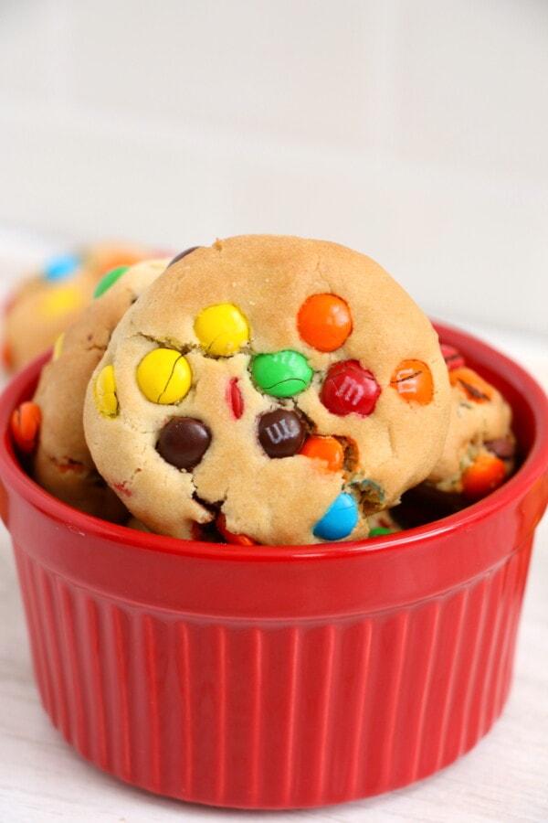 Closeup shot of air fryer cookies in red bowl